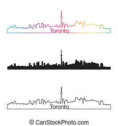 Toronto skyline linear style with rainbow in editable vector...