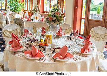 Indoors wedding reception with decor, wedding hall