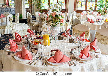 Indoors wedding reception with decor