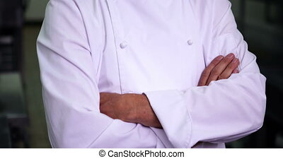 Head chef making ok sign and smiling at camera in a...