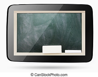 Empty smudged with calk blackboard inside computer tablet,...