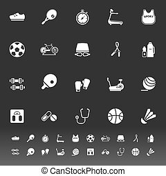 Fitness sport icons on gray background, stock vector
