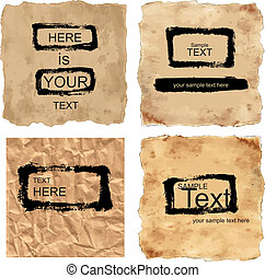 vector grunge papers with draw frames