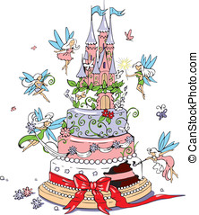 Cake and fairies - vector on how to prepare and decorate...