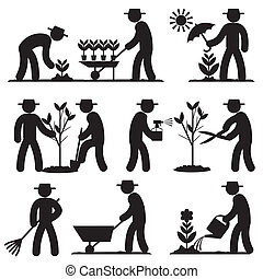 agro people icons - set black and white icons of spring...