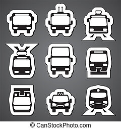 public transport label - set vector black and white icons...