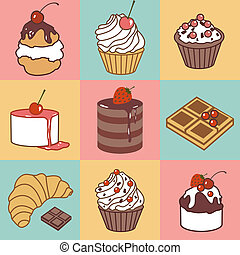 bake and sweets color pattern - vector seamless pattern with...