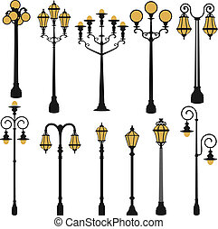 street lamp set - vector set of street lamp set