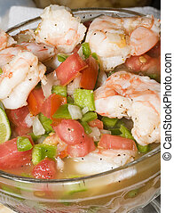 shrimp ceviche cebiche as photographed in restaurant on corn...