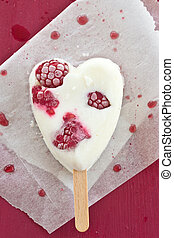 Popsicle in heart-shape - Frozen popsicle in heart-shape...