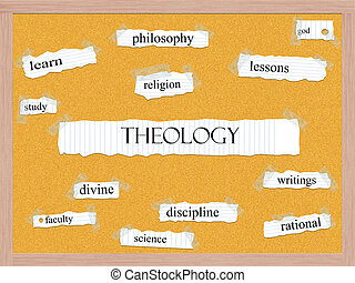 Theology Corkboard Word Concept with great terms such as...