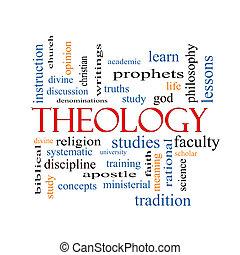 teología, palabra, nube, concepto