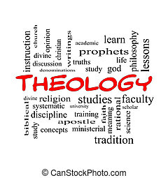 Theology Word Cloud Concept in red caps with great terms...