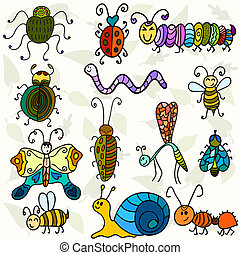 Cute bugs and funny insects. Vector illustration