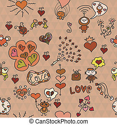 Romantic seamless pattern with a lot of funny elements