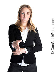Making deal - Portrait of attractive business lady stretches...