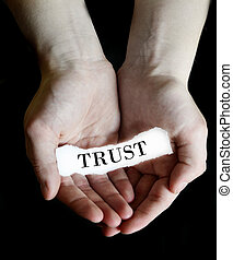 Hands Holding Paper Message Trust - Person hands holding...