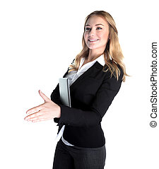 Happy business lady holding laptop and stretches out her...
