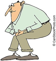 Man kicked in the groin - This illustration depicts a man in...