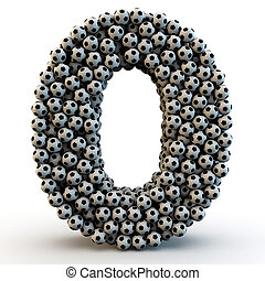 3D number zero made from football balls