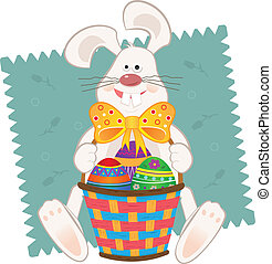 Easter Bunny With Basket - Cute bunny with Easter baskets...
