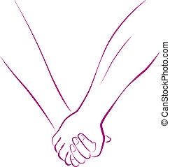 Holding Hands - Outline illustration of a female and a male...