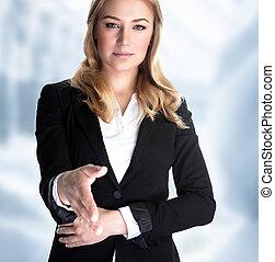 Make a bargain - Closeup portrait of attractive business...