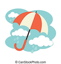 Umbrella and clouds - An illustration of an umbrella with...