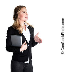 Happy business woman - Happy business lady holding laptop...