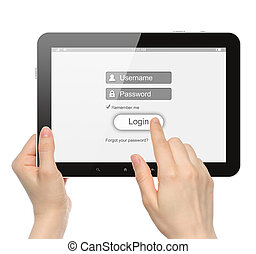 Women hands hold and touch tablet PC with login box on white...
