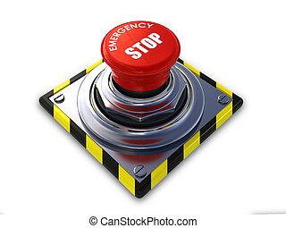 emergency stop button - Emergency stop button isolated on a...