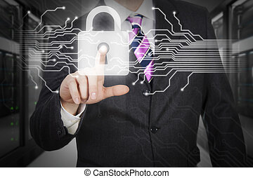 Data protection - Man pressing digital button in a...