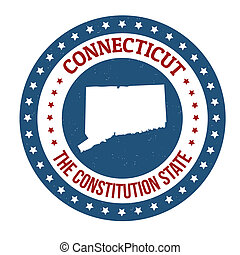 Connecticut stamp - Vintage stamp with text The Constitution...