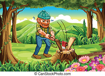 A hardworking lumberjack chopping woods at the forest -...