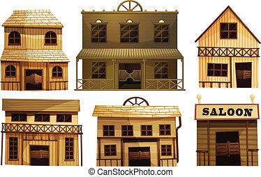 Saloon bars in the West - Illustration of the saloon bars in...