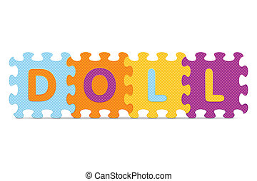 "Vector DOLL - ""DOLL"" written with alphabet puzzle - vector..."