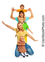 Family pyramid - Family standing in form of pyramid waiving...