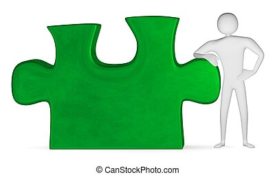 3d man leaning on green puzzle - 3d man leaning on green...