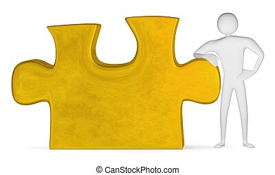 3d man leaning on golden puzzle piece isolated on white...