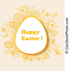 Easter background with orange flowers - Decorative vector...