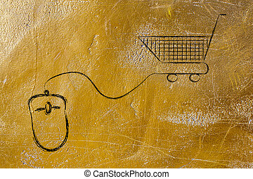online business: computer mouse and shopping cart - online...