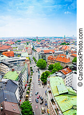 Street view in city centre of Munich, Germany - Street view...