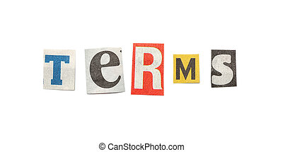 Terms, Cutout Newspaper Letters - Terms - words composed...