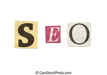 SEO, Cutout Newspaper Letters - Search Engine Optimization,...