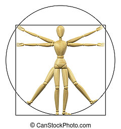Vitruvian mannequin - High resolution 3d rendering of a...