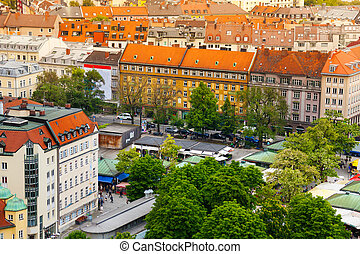 City view of Munich, Bavaria, Germany - City centre street...