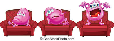 Red chairs with pink monsters - Illustration of the red...