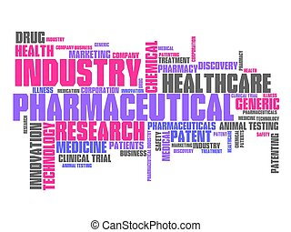 Pharmaceutical industry and medicine word cloud illustration...