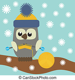 nice owl knitting vector illustration