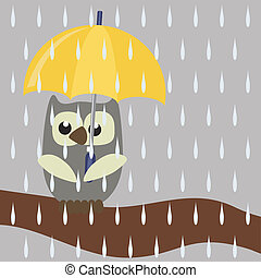 nice owl with umbrella